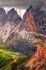 Preview iPhone wallpaper Italy, South Tyrol, Dolomites, mountains, Alps, clouds, dusk