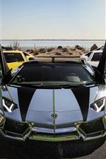 미리보기 iPhone 배경 화면 람보르기니 아 벤타 도르 LP700-4, 흰색, 은색 노란색 초 차는
