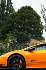 Preview iPhone wallpaper Lamborghini Murcielago LP670-4 orange supercar, trees