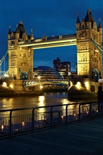 Preview iPhone wallpaper London, England, city, the river Thames, Tower Bridge, lights