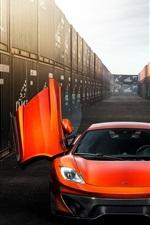 McLaren MP4-VX orange supercar front view, doors opened