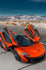McLaren P1 Hybrid orange supercar, wings
