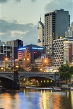 Preview iPhone wallpaper Melbourne, Australia, city, river, bridge, buildings, lights