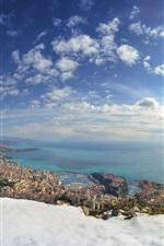 미리보기 iPhone 배경 화면 모나코, 겨울, 눈, 바다, 도시, 주택