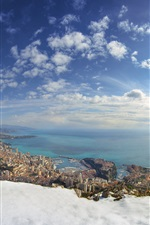 Monaco, inverno, neve, mar, cidade, casas