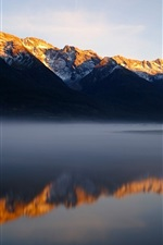 Preview iPhone wallpaper Mountains, lake, morning, fog, water reflection