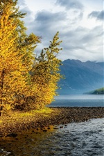Preview iPhone wallpaper Mountains, sky, clouds, river, forest, trees, colorful autumn