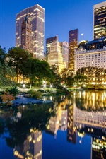 Preview iPhone wallpaper New York City, Manhattan, Central Park, USA, lake, buildings, night city
