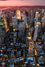Preview iPhone wallpaper New York City, Manhattan, USA, night, sunset, skyscrapers, lights