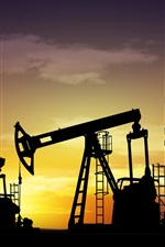 Preview iPhone wallpaper Oil industry, silhouettes, oil rigs, night