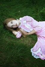 Preview iPhone wallpaper Pink dress girl, sleep, sadness, loneliness