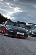 Preview iPhone wallpaper Porsche 911 GT3 supercar, white, black, dusk