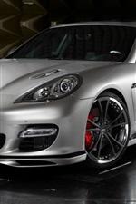 Porsche silver car front view