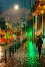 Preview iPhone wallpaper Prague, Czech, night, rain, lights