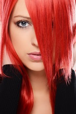 Preview iPhone wallpaper Red hair girl, eyes, face, hands, fashion