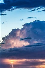 Preview iPhone wallpaper Sky, clouds, glow, sunset, thunder, lightning