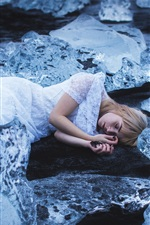 Preview iPhone wallpaper Sleep girl, ice, cold, Amy Haslehurst