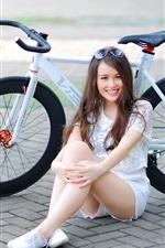 Preview iPhone wallpaper Smile girl, bike, street