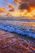 Preview iPhone wallpaper Sunset, sea, coast, surf, waves, clouds