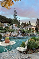 Preview iPhone wallpaper USA, California, pool, bushes, park, chair, night