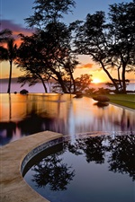 Preview iPhone wallpaper USA, Hawaii, Maui, sunset, pool, trees, silhouettes