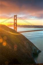 EUA, cidade, Golden Gate Bridge, sol da manhã
