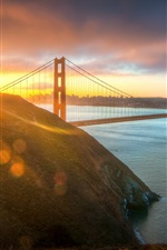 USA, city, Golden Gate Bridge, morning sun