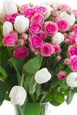 Preview iPhone wallpaper Vase, flowers, pink roses, white tulips