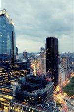 Oeste Midtown, Nova York, EUA, casas, crepúsculo