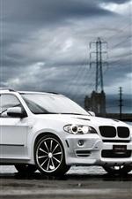 White BMW X5 SUV car, clouds