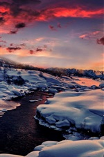 Preview iPhone wallpaper Winter, snow, river, mountain, forest, sunset