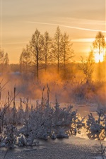 Preview iPhone wallpaper Winter, sunset, evening, river, frost, snow