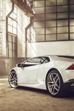 Preview iPhone wallpaper 2014 Lamborghini Huracan LP610-4 supercar rear view