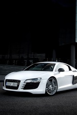Preview iPhone wallpaper Audi R8 white car, city, glare