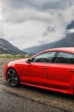 iPhone fondos de pantalla Audi RS7 coche rojo vista lateral