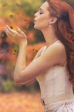 Preview iPhone wallpaper Autumn, leaves, red hair girl