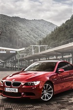 Preview iPhone wallpaper BMW M3 E92 coupe red car, rail station
