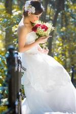 Preview iPhone wallpaper Beautiful bride, girl, asian, flowers