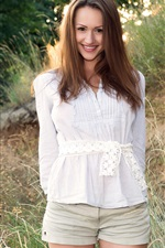 Preview iPhone wallpaper Beautiful brown haired girl, standing, smile
