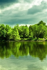 Preview iPhone wallpaper Beautiful lake, water reflection, trees, thick clouds