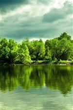 미리보기 iPhone 배경 화면 아름 다운 호수, 물 반사, 나무, 두꺼운 구름