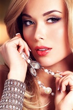 Preview iPhone wallpaper Blonde girl, eyes, face, jewelry, bracelet