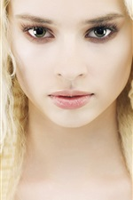 Preview iPhone wallpaper Blonde girl, hair, face, eyes, eyelashes