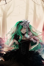 Preview iPhone wallpaper Blue hair anime girl, playing violin, flowers, trees