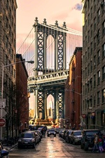 Preview iPhone wallpaper Brooklyn Park, Manhattan Bridge, USA, buildings, road, cars