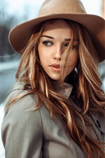 Preview iPhone wallpaper Brown hair girl, wind, hat, city