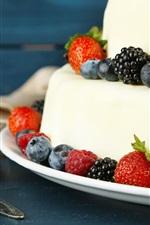 Preview iPhone wallpaper Cake, dessert, strawberry, blackberry, food