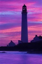 海岸、灯台、夕暮れ、海、岩、崖