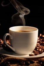 미리보기 iPhone 배경 화면 커피 콩, 뜨거운 컵 커피, 가방
