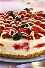 Preview iPhone wallpaper Dessert, strawberries, blackberries, cake